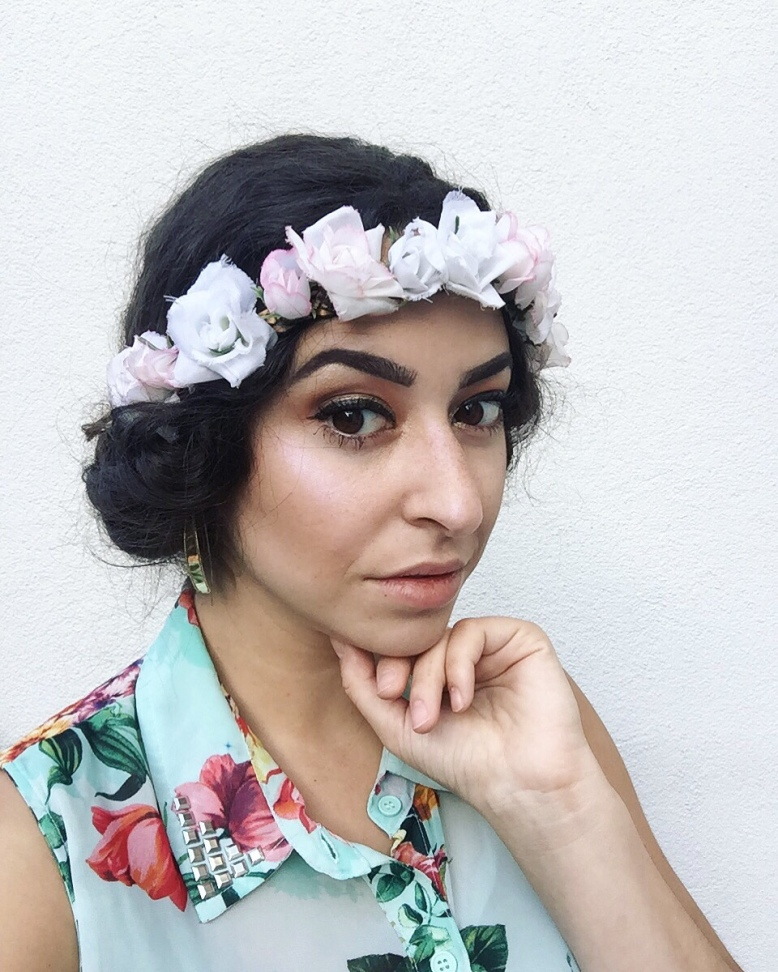 Floral crown up do tutorial hairstyle for curly hair